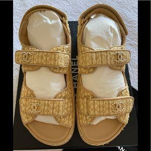 NEW Chanel DAD Sandal Beige Fabric Pearl CC 38.5